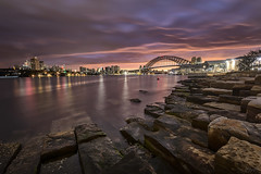 Before The Rain (Crouchy69) Tags: ocean city bridge sea sky seascape water clouds sunrise landscape dawn coast harbor sandstone rocks harbour sydney reserve australia barangaroo