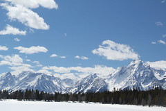 Mountains behind a frozen lake 5 (Aggiewelshes) Tags: travel winter snow mountains landscape scenery april snowshoeing wyoming jacksonhole colterbay frozenlake grandtetonnationalpark 2016 gtnp