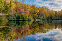 Fall's Majesty Reflected in Sims Pond (HollidayPhotography) Tags: autumn lake reflection fall water nc pond rick northcarolina blueridgeparkway 2012 brp westernnorthcarolina rickholliday wwwrickhollidaycom