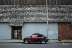This Is Really Bugging Me (Flint Foto Factory) Tags: county street wood city blue roof summer urban food home water vw bug volkswagen graffiti restaurant town store paint downtown michigan hometown side profile beetle shingle magenta fast august front help hamburger shake customized baja poison import lead flint crisis leadership genesee 2014 mansard secondst worldcars macbeef ssaginawst