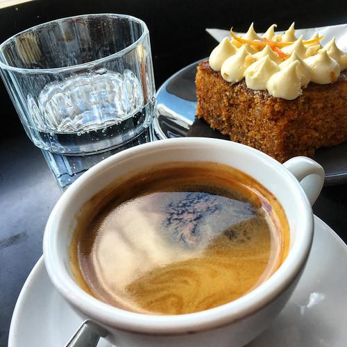 Long black coffee with carrot cake at Pardon in Prahran #coffee #cake