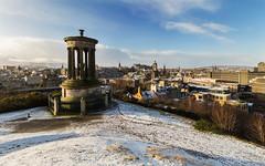 Snowy Morning (Kyoshi Masamune) Tags: uk winter snow scotland edinburgh edinburghcastle princesstreet wideangle newtown oldtown balmoralhotel caltonhill hdr highdynamicrange ultrawideangle dugaldstewartmonument balmoralclock kyoshimasamune