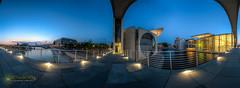 View From A Bridge (Nachtwächter) Tags: panorama berlin nightshot hauptbahnhof reichstag bluehour spree dri hdr nachtaufnahme regierungsviertel berlinmitte blauestunde tonemapping