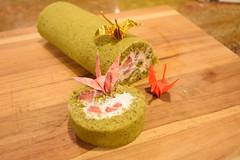 Matcha Strawberry Roll Cake (anhthyho) Tags: green cake japanese origami tea cream strawberries fresh goods desserts cranes kawaii roll matcha sponge pastries baked whipped
