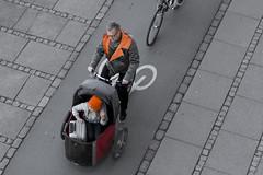 Copenhagen Cargo Bikes (Mikael Colville-Andersen) Tags: kids copenhagen denmark kid child streetphotography aerial luggage baggage danmark københavn superdad nihola cargobike nørrebrogade cyclechic
