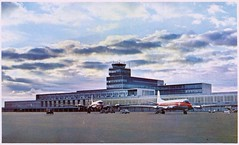 Montreal International Airport, Quebec (SwellMap) Tags: architecture plane vintage advertising design pc airport 60s fifties aviation postcard jet suburbia style kitsch retro nostalgia chrome americana 50s roadside googie populuxe sixties babyboomer consumer coldwar midcentury spaceage jetset jetage atomicage