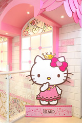 JEJU, SOUTH KOREA - NOV 28, 2015 : Hello Kitty House with Hello Kitty in pink dress paper die-cut (scale in human size) located in 3F HELLO KITTY ISLAND MUSEUM & CAFE IN JEJU, Seogwipo-si. (enchanted.fairy) Tags:
