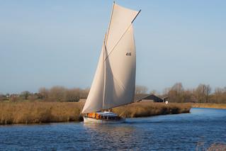 Sail boat on River Thurne, Norfolk, UK (1)