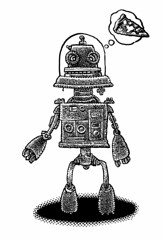 Robot cravings (Don Moyer) Tags: moleskine ink notebook robot drawing pizza moyer brushpen donmoyer