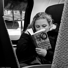 So far nothing going on.... (Akbar Simonse) Tags: people bw woman holland blancoynegro netherlands girl monochrome train square reading book boek zwartwit candid nederland streetphotography bn publictransport trein openbaarvervoer lezen vierkant straatfotografie dscn0209 sylviawitteman akbarsimonse totdusvernietsaandehand