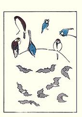 Brown shrike and great tit (Japanese Flower and Bird Art) Tags: brown bird art japan japanese book major tit great picture woodblock shrike parus lanius cristatus masayoshi paridae rinpa laniidae kitao readercollection