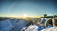 Sunset Zugspitze (Tim RT) Tags: blue winter sunset sky sun snow building germany lens landscape tim angle sony wide clear flare fe rt a7 zugspitze 1635mm ilce a7ii ilce7m2 sonyfe1635mmf4