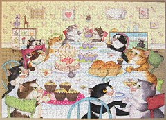 Crazy Cats Enjoy Tea & Cake (Linda Jane Smith) (Leonisha) Tags: cats table chat puzzle tisch katzen crazycats jigsawpuzzle
