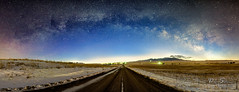 Country Road Gateway (JusDaFax) Tags: road winter light sky snow west night clouds stars colorado infinity country galaxy western milkyway