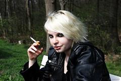 Rocker Chick (mistyrock) Tags: hot sexy girl leather rock metal hard babe chick jacket rocker lederjacke