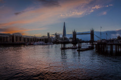 Tower Bridge (RCARCARCA) Tags: sky london water thames clouds towerbridge canon reflections river evening bluehour shard riverthames 2470l pontoons countyhall 5diii