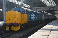 37402 Preston 14/03/2016 (Brad Joyce 37) Tags: blue tractor train lancashire preston mk2 passenger northern plough drs class37 largelogo 37402 2c47