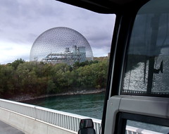 Montreal Biosphère (subarcticmike) Tags: subarcticmike montreal quebec canada tourist attraction biosphere expo copilot front seat travel geotagged montrealbiosphère buckminsterfuller tourbus geodesic dome sphere landscape