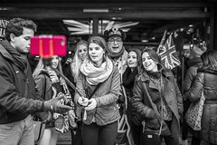 20160304_F0001: Must... Take... Photo (wfxue) Tags: street red people blackandwhite bw london english mobile photo phone purple candid flag group tourist tourists stick selectivecolor selfie selectivecolour selectivecolouring selectivecoloring