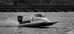 Powerboat, Carr Mill Dam (wiganworryer) Tags: uk bridge 2 england bw white lake black west mill water monochrome sport st race canon lens photography mono carr boat is photo championship power image zoom mark dam north picture keith arches racing ii 200 7d formula helens l series motor f2 gibson 70 powerboat 19 f28 mk nineteen motorsport 2016 wiganworryer