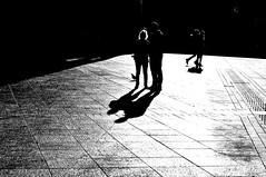 """...In the half-light, I am most at home, my shadow as company..."" - C.Rankine (eggii) Tags: light people bw germany dark shadows silhouettes journey ulm"