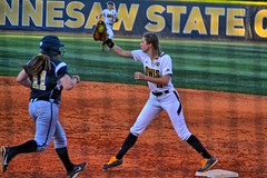 You're Out! (BDM17) Tags: game ga ball out georgia university state 1st first run ksu catch softball base hornets owls kennesaw
