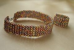 multicolor beadwoven bracelet and ring, 2009 (melindatakacs1) Tags: handmade ring bracelet bead beaded jewerly beadwoven