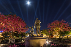 Disneyland: A Timeless Tale of Two Partners (Jessie Chaisson) Tags: blue trees sky jessie statue night stars photography lights disneyland partners chaisson
