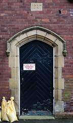 Danger - Drop (Man with Red Eyes) Tags: door red sign danger nikon drop number peelingpaint warningsign d500 1927 sandbag datestone dangerdrop nikkorafsdx18105mmf3556edvr