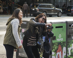 CAPTURE!!! (Igor Voller) Tags: auto street camera new york city nyc girls people usa green girl car sunglasses america fun happy photography us looking box manhattan tripod letter amerika striped kamera             fotoapparat     strase  freu   freulein