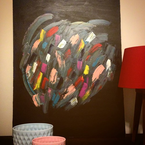 This #art piece has been sold ... Now going to #london 😍   #art #painting #abstractart #nuagedecouleur #black #architecture #interiordesign #contemporary