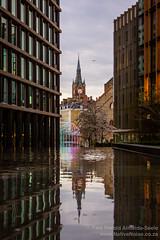 View From St Pancras Square (NativePaul) Tags: uk greatbritain england reflection london clock water unitedkingdom britain clocktower gb kingscross stpancras hdr stpancrassquare