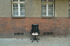 Please take a seat #444 (sterreich_ungern) Tags: windows streetart berlin rot abandoned yellow facade lost photography chair contemporary collection plastic holz bro stuhl 44 backstein gesthl