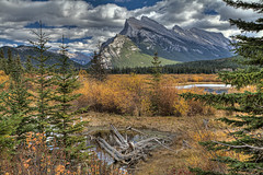 Mt Rundle with Fall Colors (John Payzant) Tags: lake canada mt alberta banff hdr vermilion rundle