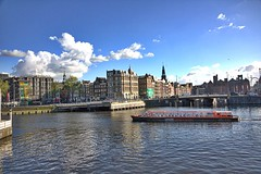 Amsterdam Central (kekaneshrikant) Tags: holland water amsterdam clouds canon evening central sunny nederlands 2016 canon450d outsidecentral