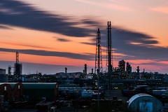 After the sunset (Explore #9) (Fabian F_) Tags: sunset orange industry clouds canon germany dark deutschland evening abend wolken bluehour industrie gelsenkirchen chemical ndfilter