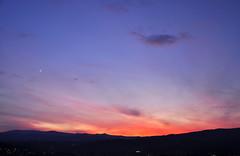 Da casa saluto il Sole #2 (Celeste Messina) Tags: pink blue sunset red sky orange sun moon west silhouette skyline clouds landscape tramonto nuvole colours emotion blu rosa luna cielo rays feeling sole rosso azzurro colori paesaggio arancione raggi lightblue crescentmoon celeste crepuscolo ovest emozione lunacrescente epocale spicchiodiluna icolorideltramonto gobbaaponente