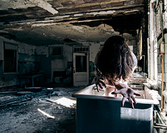 It will wash away with time (sadandbeautiful (Sarah)) Tags: woman selfportrait abandoned me kitchen female self nj psychiatrichospital urbex