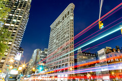 Flatiron (chrisitch) Tags: new york city travel chris light usa color building architecture night america canon asian photography eos long exposure cityscape vibrant christina united tripod trails lighttrails states flatiron 6d 2016 itchon