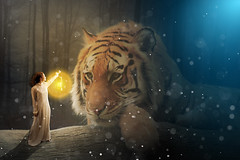 chica con tigre (Nadia.Photography) Tags: color art girl digital tiger ps fantasy photosho