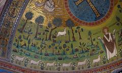 Garden (left), Sant'Apollinare, apse mosaic, Sant'Apollinare in Classe