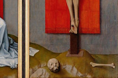 Van der Weyden, The Crucifixion, with the Virgin and Saint John the Evangelist Mourning, detail with bones