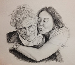Father & Daughter Tribute Commission (jodiorodeo) Tags: old family portrait art pencil portraits hug memorial kiss drawing father daughter victoria tribute draw wrinkles graphite jodio jodiorodeo
