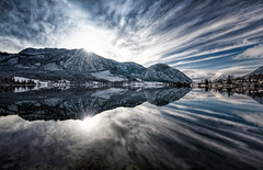 Austrian Stars And Stripes (explored) (hpd-fotografy) Tags: blue winter light panorama white mountain lake snow alps cold reflection nature sunrise landscape austria österreich outdoor hiking dramatic alpen ultrawide grundlsee