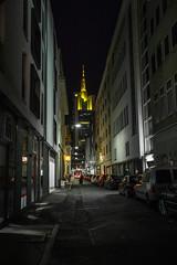 Shiny (ax.stoll) Tags: street sky tower cars skyline architecture night skyscraper dark back alley frankfurt commerzbank