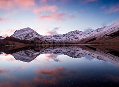 Buttermere at sunrise (alf.branch) Tags: snow reflection water clouds sunrise landscape lakes lakedistrict olympus western stillwater zuiko buttermere lakesdistrict refelections westcumbria westernlakes olympusomdem5mkii ziuko918mmf4056ed