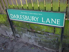 Daresbury Lane, Daresbury - road sign (ell brown) Tags: greatbritain england sign village cheshire unitedkingdom roadsign daresbury halton daresburylane daresburyvillage daresburyconservationarea daresburyln