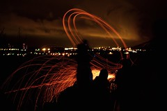 On fire #2 (Caropaulus) Tags: longexposure red lightpainting night fire silhouettes alsace tradition spark nuit feu expositionlongue dieffenthal schieweschlawe etincelle