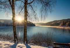 Sunrise (impossiblejoker) Tags: morning schnee trees winter lake snow water sunrise germany landscape deutschland nikon nrw capture landschaft bume sonnenaufgang verse sauerland ldenscheid morgenstimmung d7100