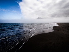 Icelandic beach (arsamie) Tags: travel blue sea summer sky cloud white storm black cold reflection beach june island iceland sand horizon north wave away pure far
